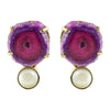 Golden Earrings w/ Purple Stone & Cultured Pearl