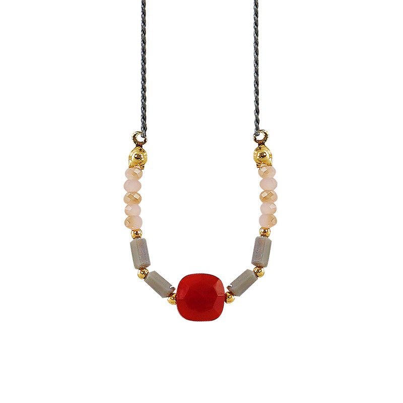 Grey Necklace w/ Red Stone