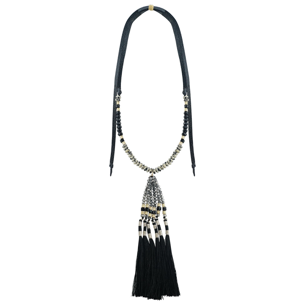 Black Necklace w/ Crystals, Stones & Tassels