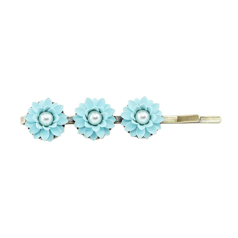 Brass Hairclip w/ Blue Flowers & Cultured Pearls
