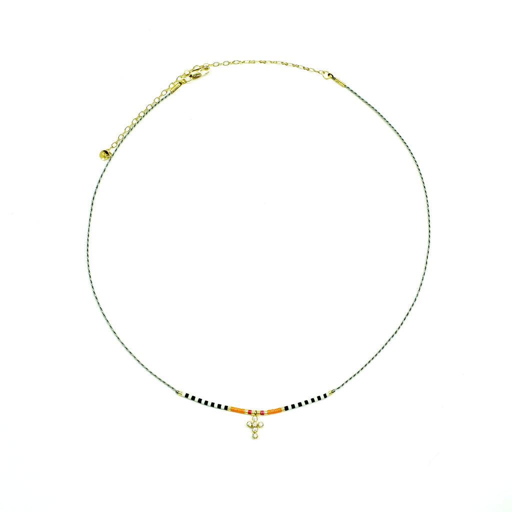 Grey string necklace w/ multicolored miyuki beads and cross