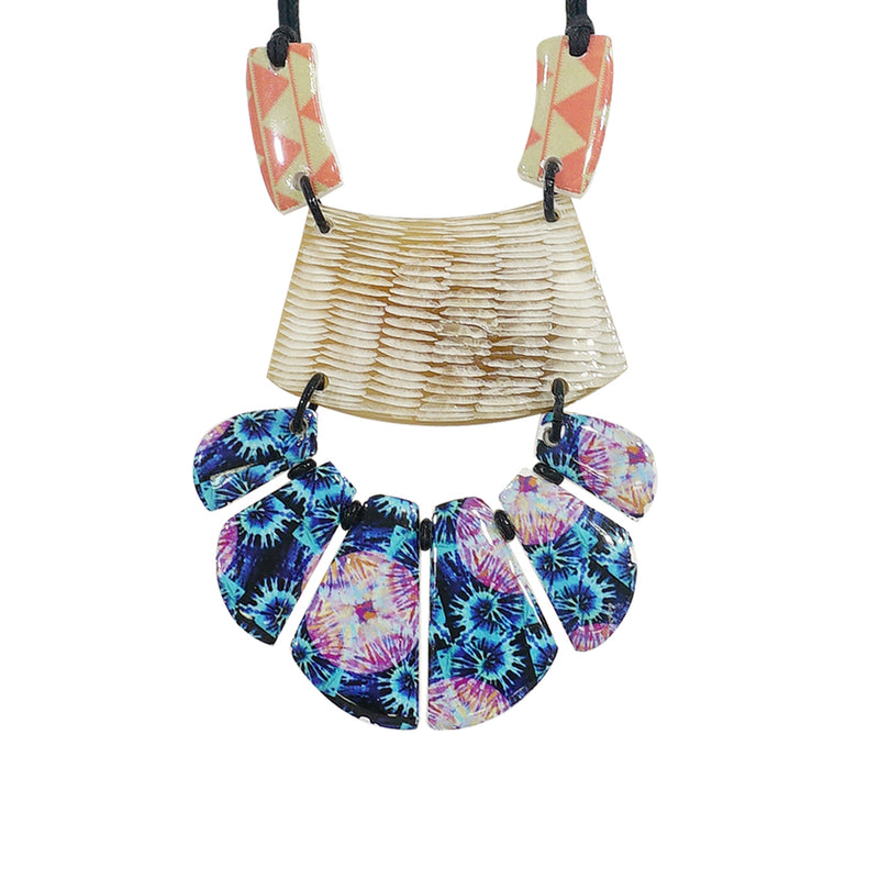 Horn & Resin Necklace w/ Patterns