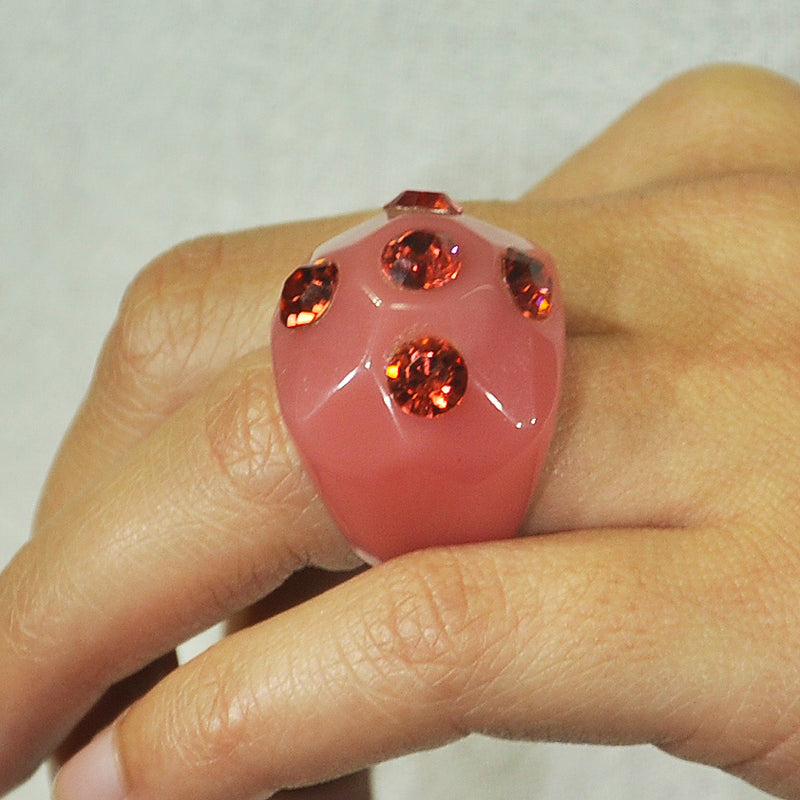 Red Resin Ring w/ Crystals