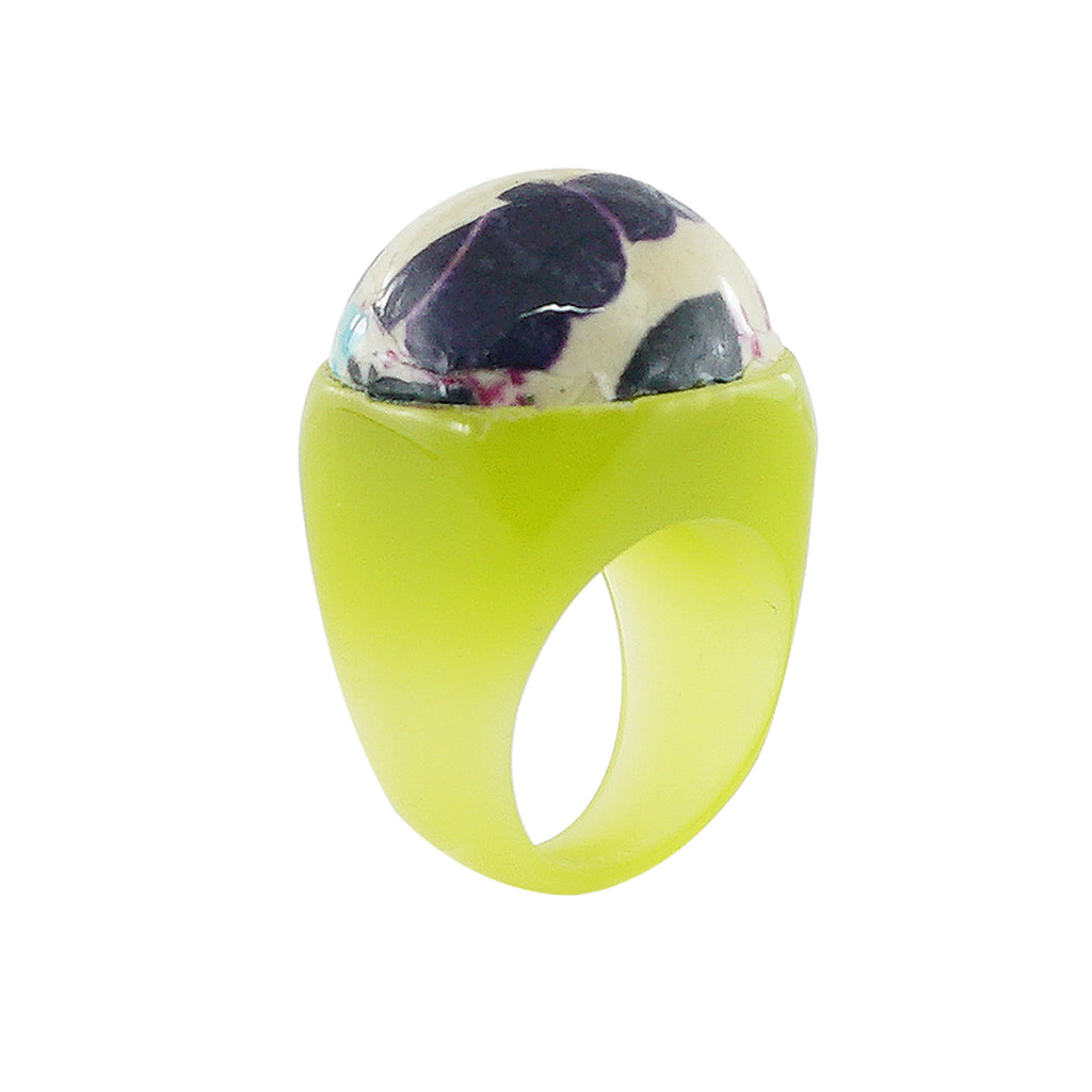 Green Resin Ring w/ Pattern