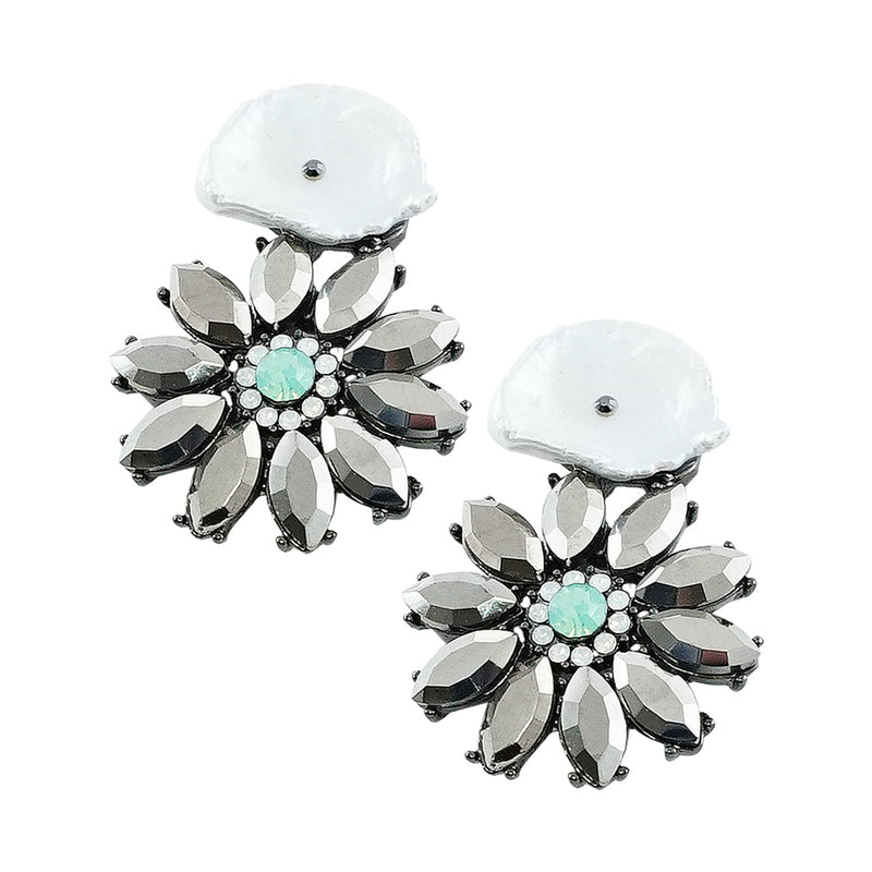 Gunmetal Earrings w/ Silver Crystals & Mother of Pearl