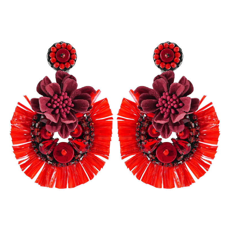 Red Flower Earrings w/ Crystals & Stones
