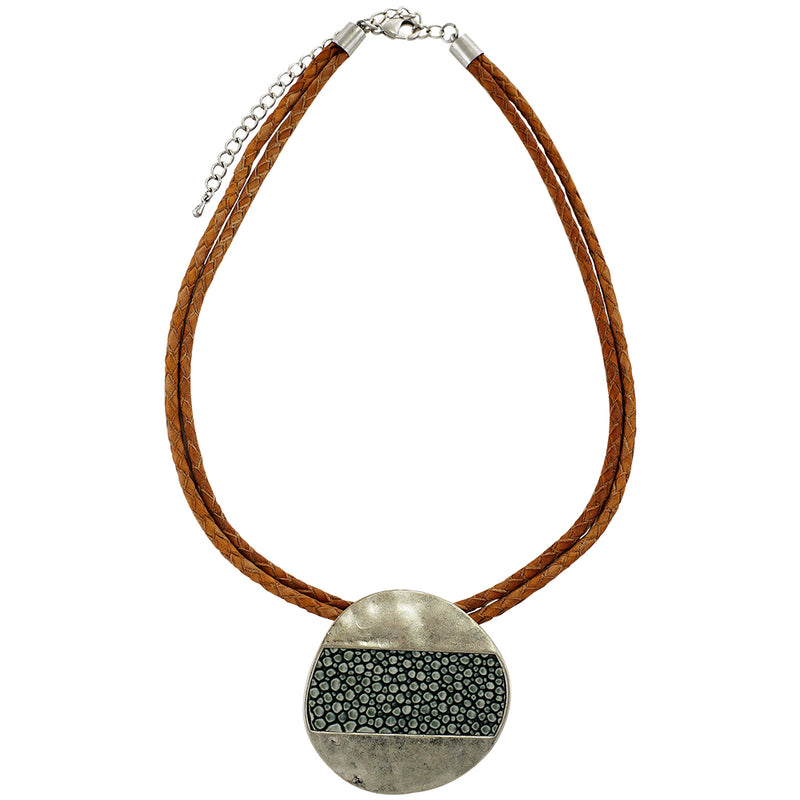 Leather Necklace w/ Patterned Silver Necklace