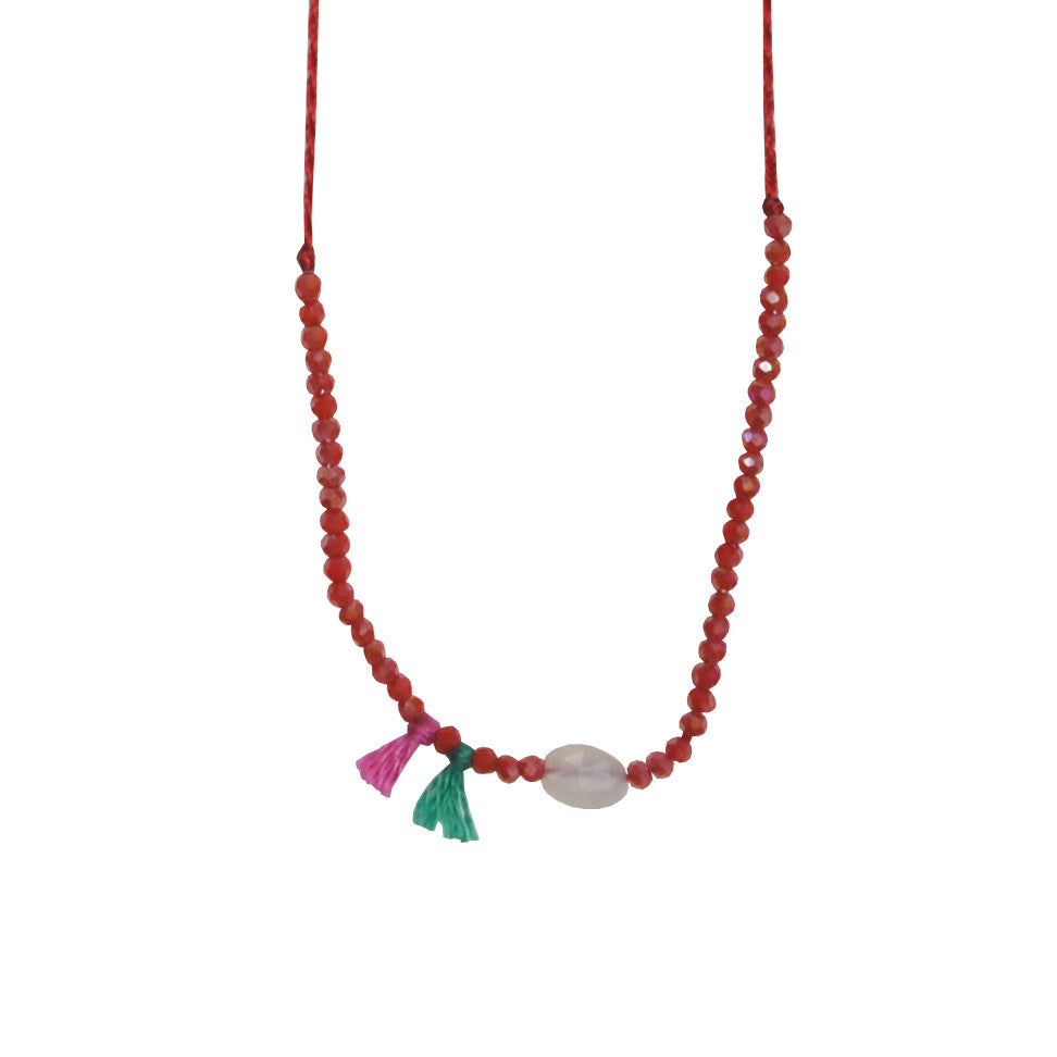 Red Necklace with Crystals & Stone
