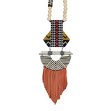 Necklace with Red & White Fringe