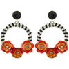 Black & White Bead Earrings w/ Flowers & Black Stone