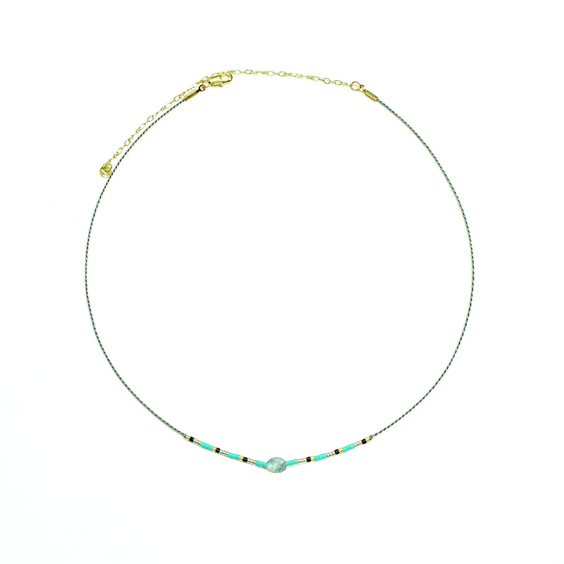 Grey string Necklace w/ multicolored Miyuki Beads and grey stone
