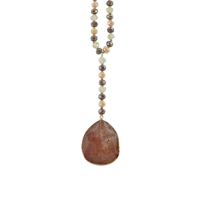 Crystal, Stone & Suede Necklace