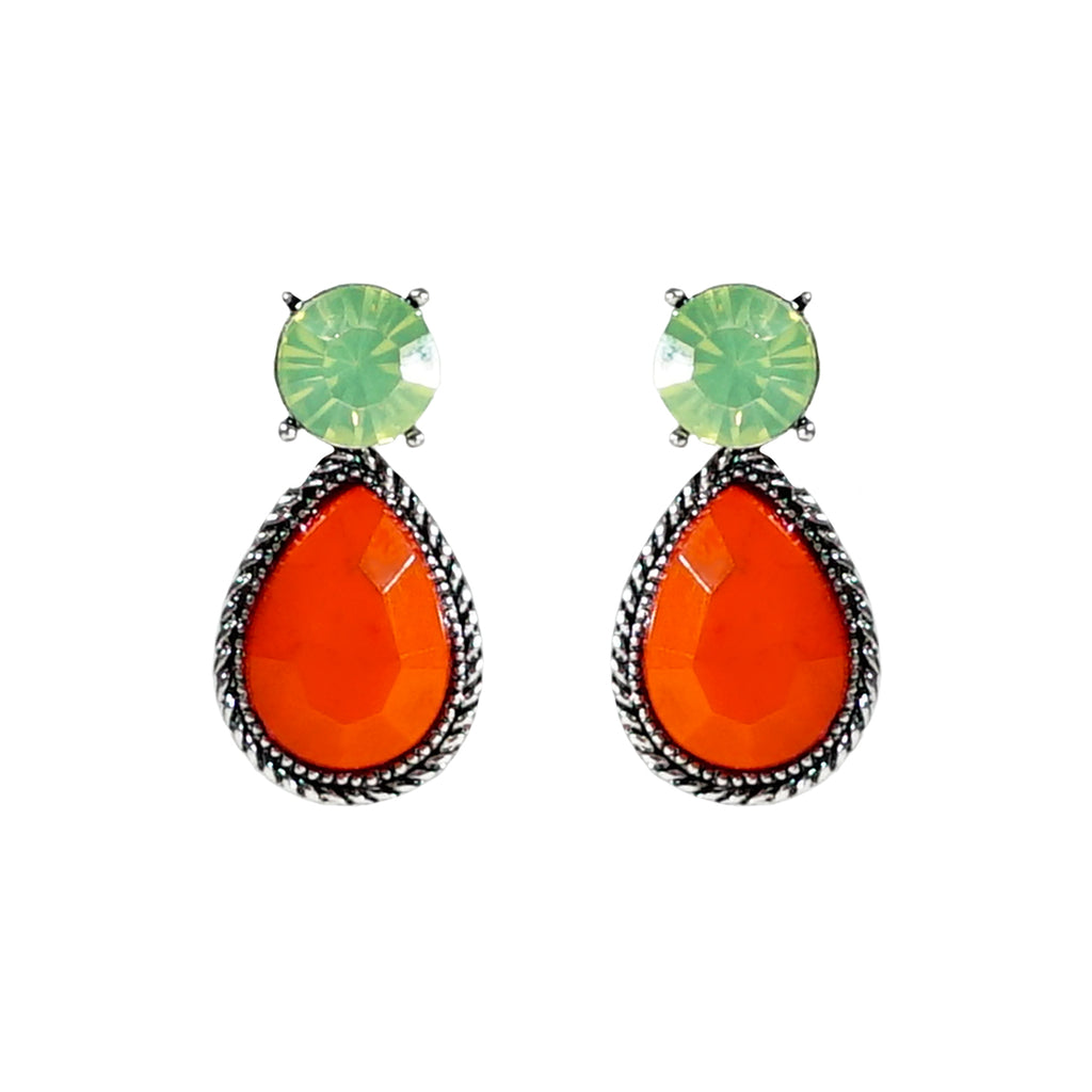 Green & Orange Crystal Earrings