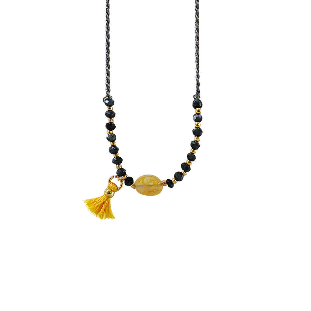 Grey Necklace w/ Yellow Stone & Blue Crystals