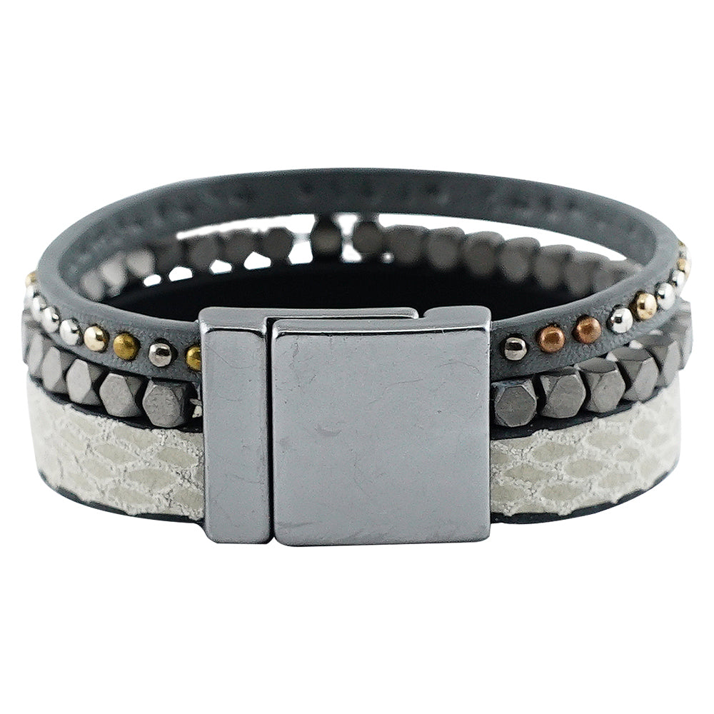Bracelet w/ Gunmetal Pieces & Grey Pattern