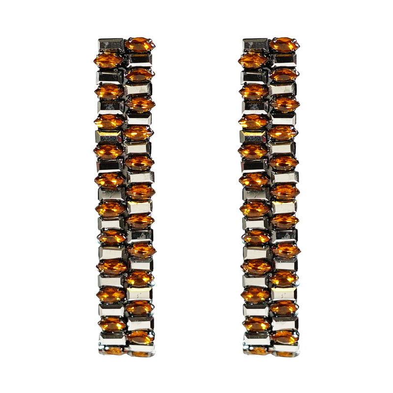 Grey & Orange Crystal Earrings