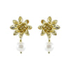 Golden Flower Earrings w/ Cultured Pearl