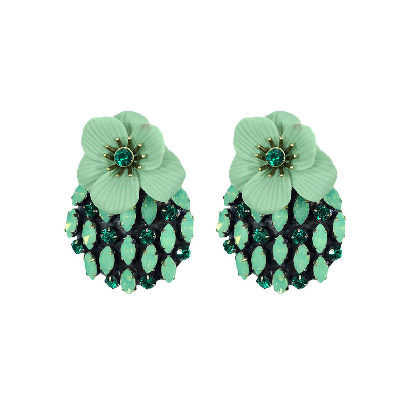 Cyan & Green Crystal Earrings