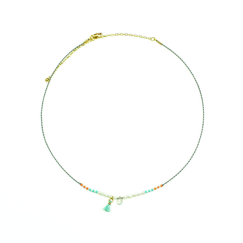 Grey string necklace w/ multicolored miyuki beads, pearls, translucent stone and blue tassel
