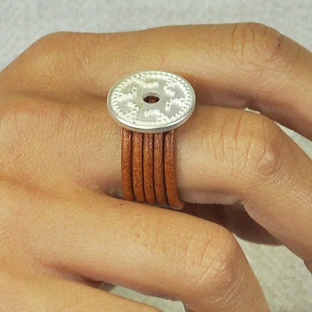Leather Ring w/ Silver Detail