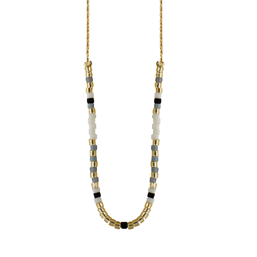 Golden Necklace w/ Grey, Black & White Beads