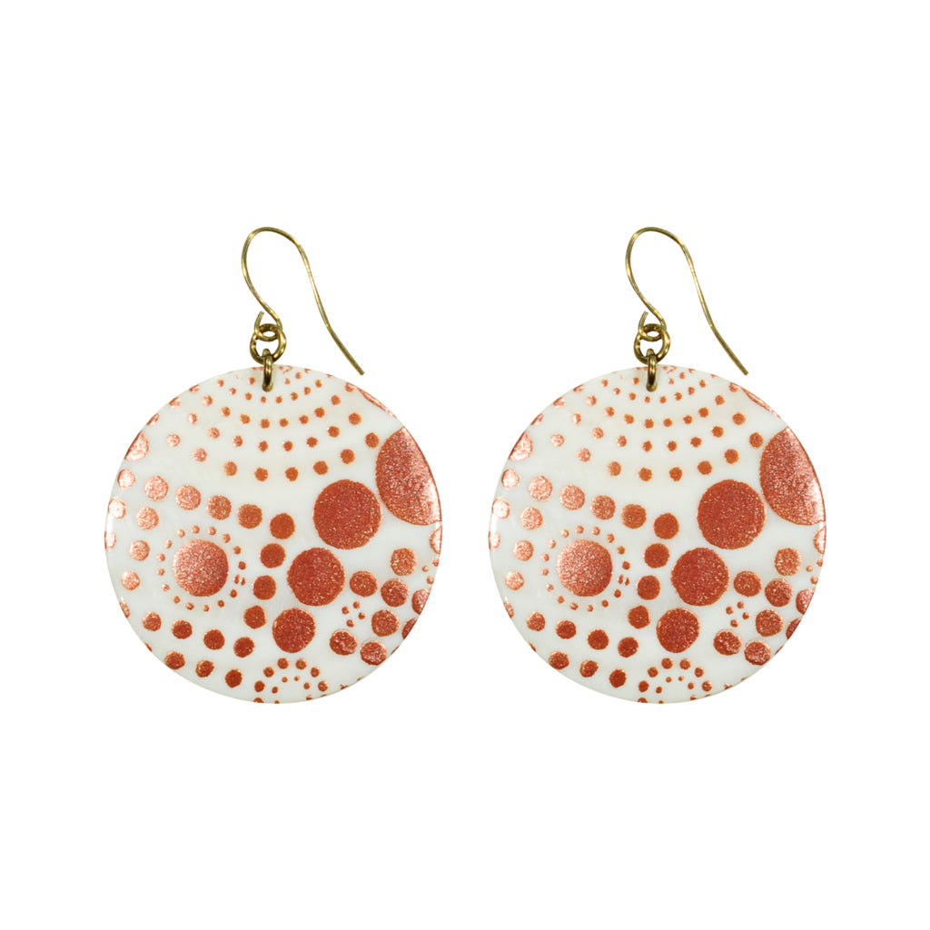 Mother of Pearl Earrings w/ Print