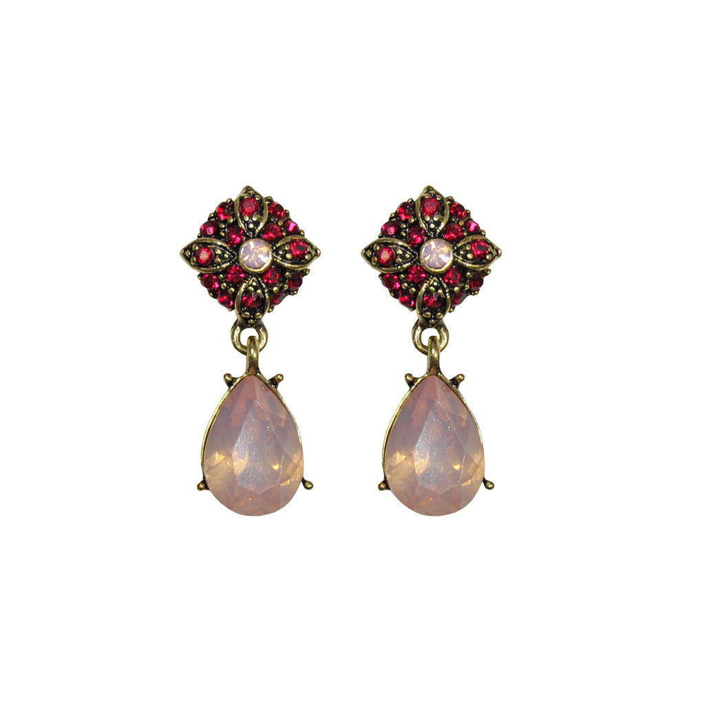 Red and pink crystal earrings