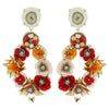 Golden Earrings w/ White Stone, Crystals & Flowers