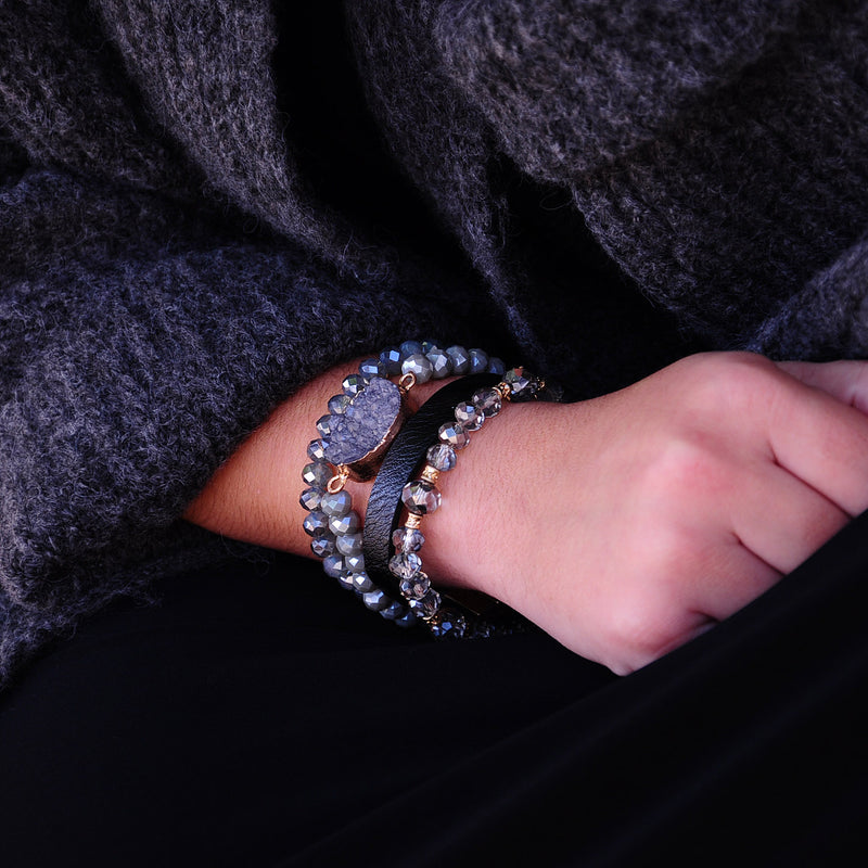 Bracelets w/ Stones, Crystals & Leather