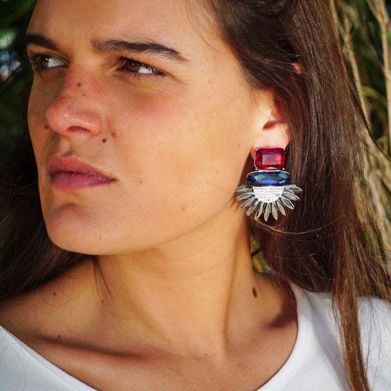 Red, Blue & Black Crystal Earrings