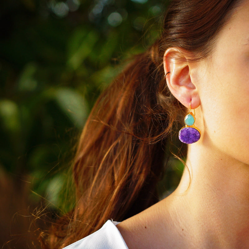 Golden Earrings w/ Blue and Purple Stones