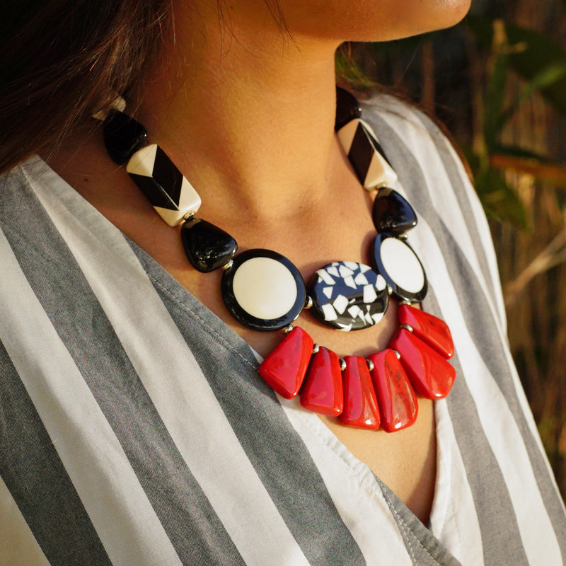 Black, White & Red Resin Necklace