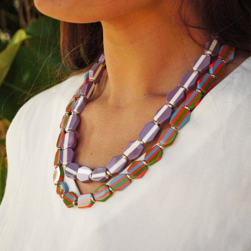 Multicolored Resin Double Necklace