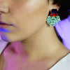 Red, Blue & Green Crystal Earrings