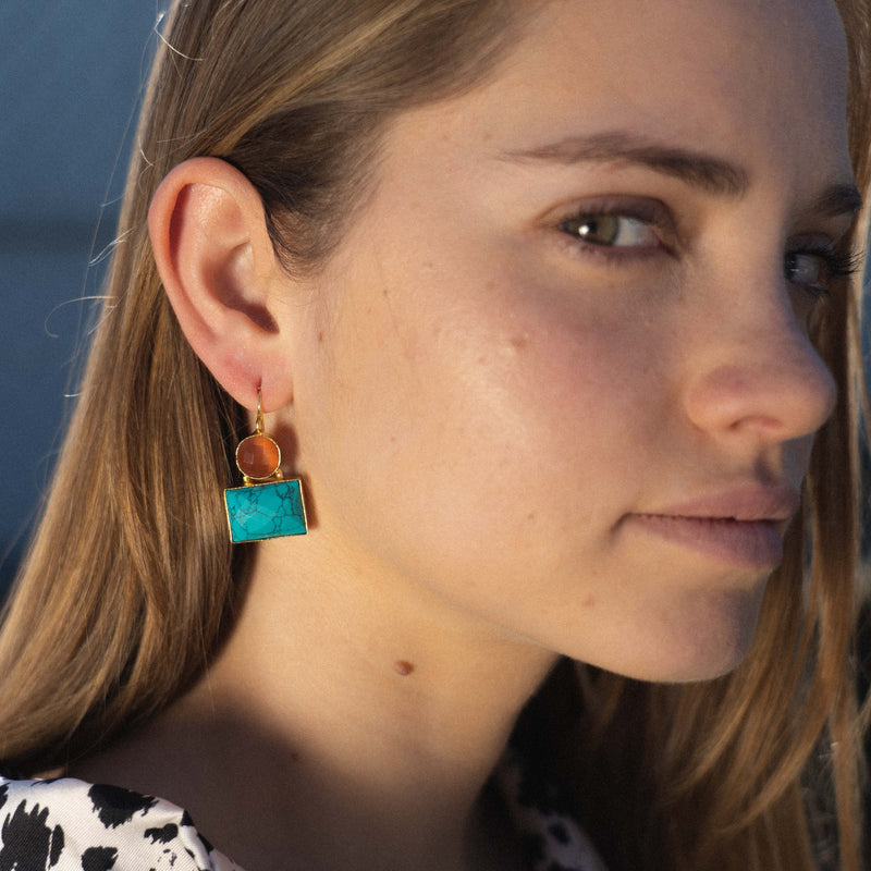 Golden Earrings w/ Orange & Turquoise Stones