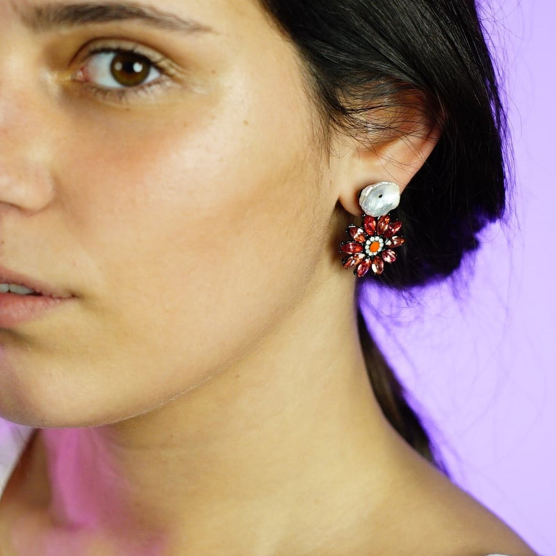 Purple Crystal Earrings w/ Mother of Pearl