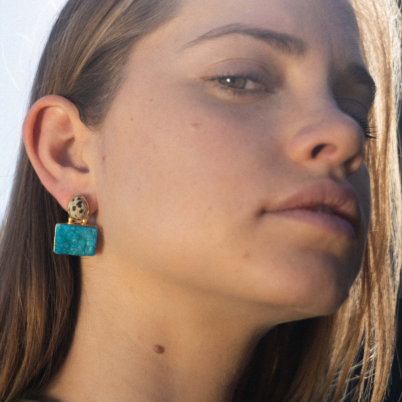 Golden Earrings w/ Multicolor Stone and Blue Stone