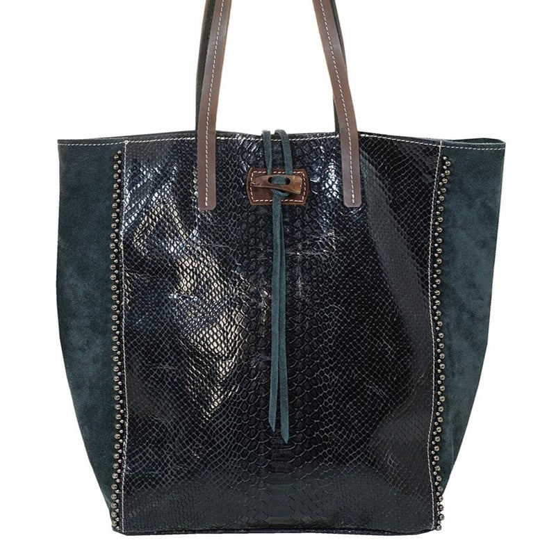 Black Leather and Grey Suede Bag