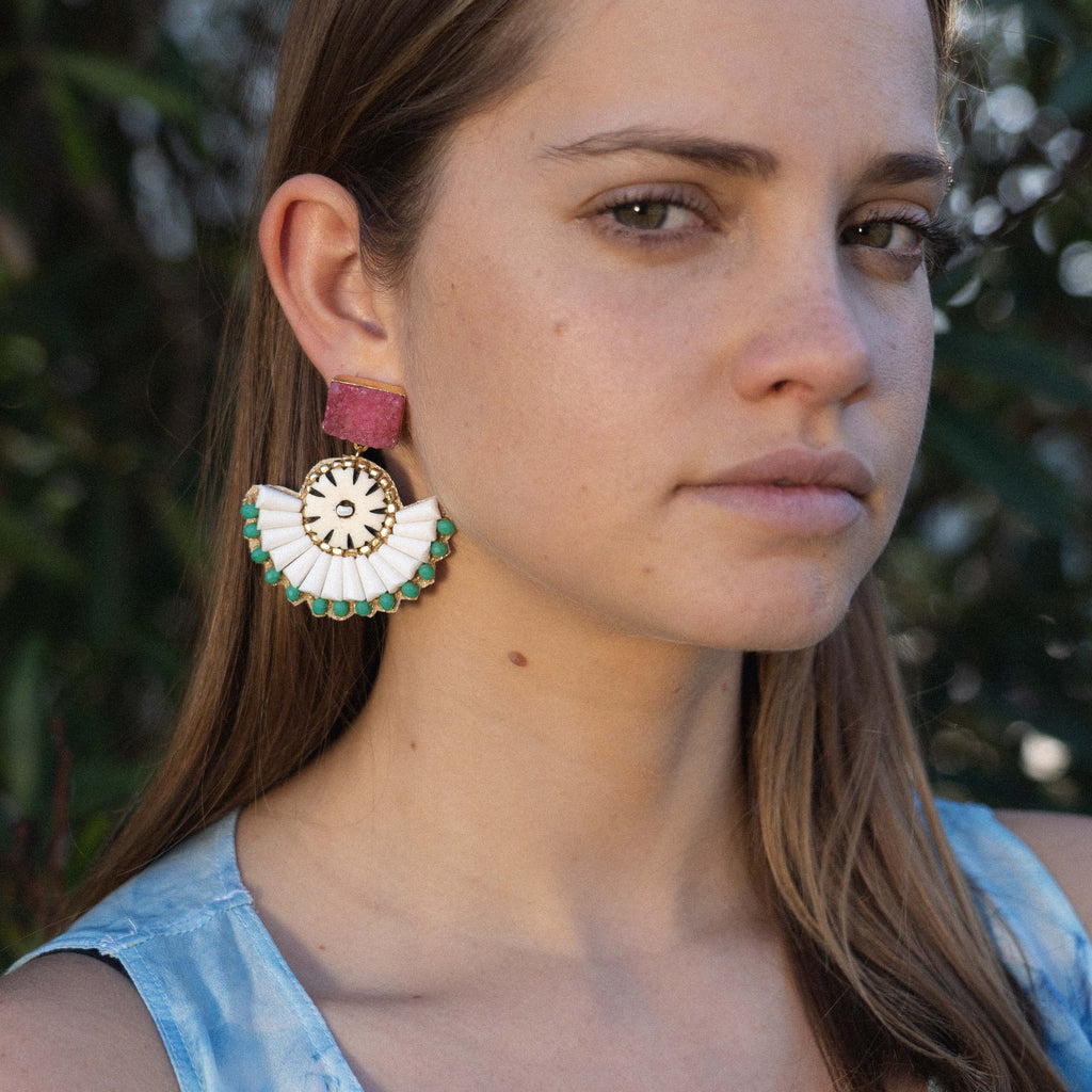White Earrings w/ Green & Red Stones