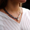Gunmetal Chain Necklace w/ Cultured Pearls & Golden Details