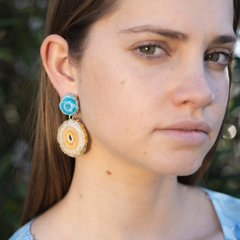 Golden Earrings w/ Blue & Brown Stones