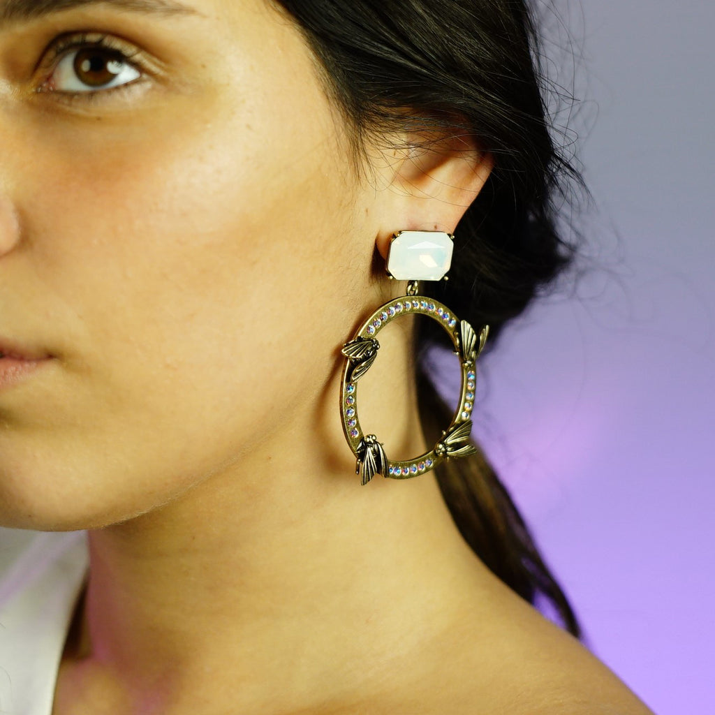 Brass Earrings w/ Bugs & Opal Crystal