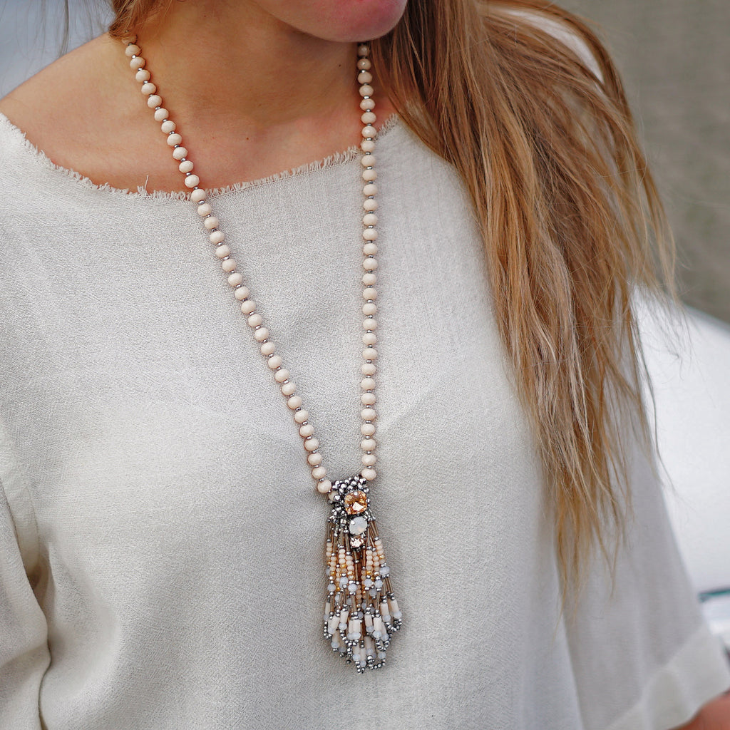 Beige Crystal Necklace w/ Multicolored Pendant