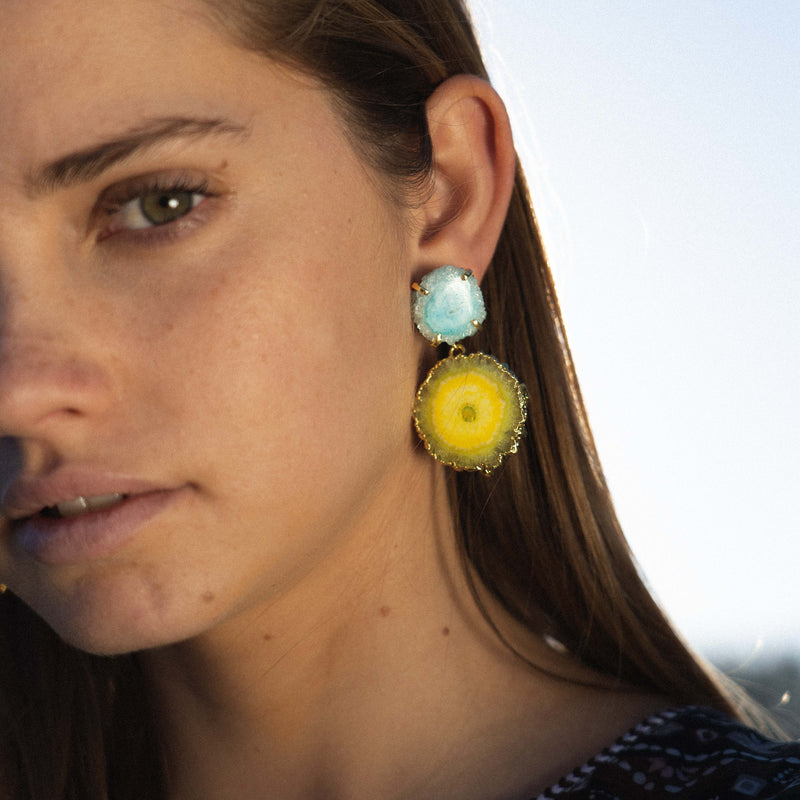 Golden Earrings w/ Light Blue & Lime Stone