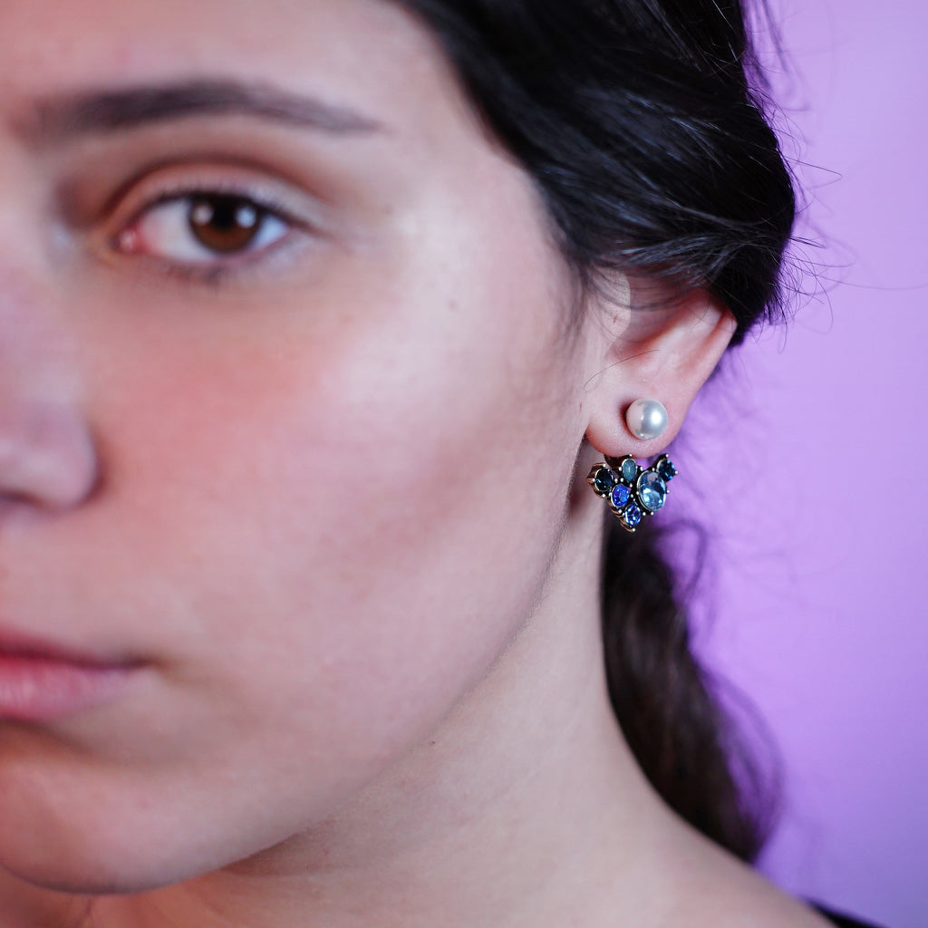 Blue Crystal Earrings w/ Blue Crystals