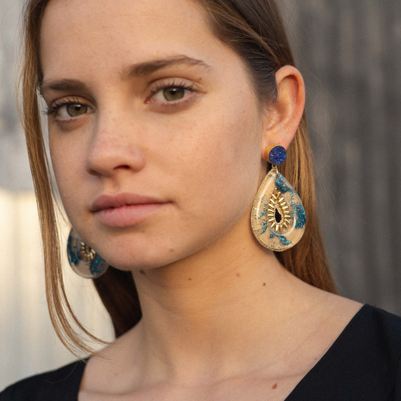 Transparent Resin Earrings w/ Blue Glitter & Stone