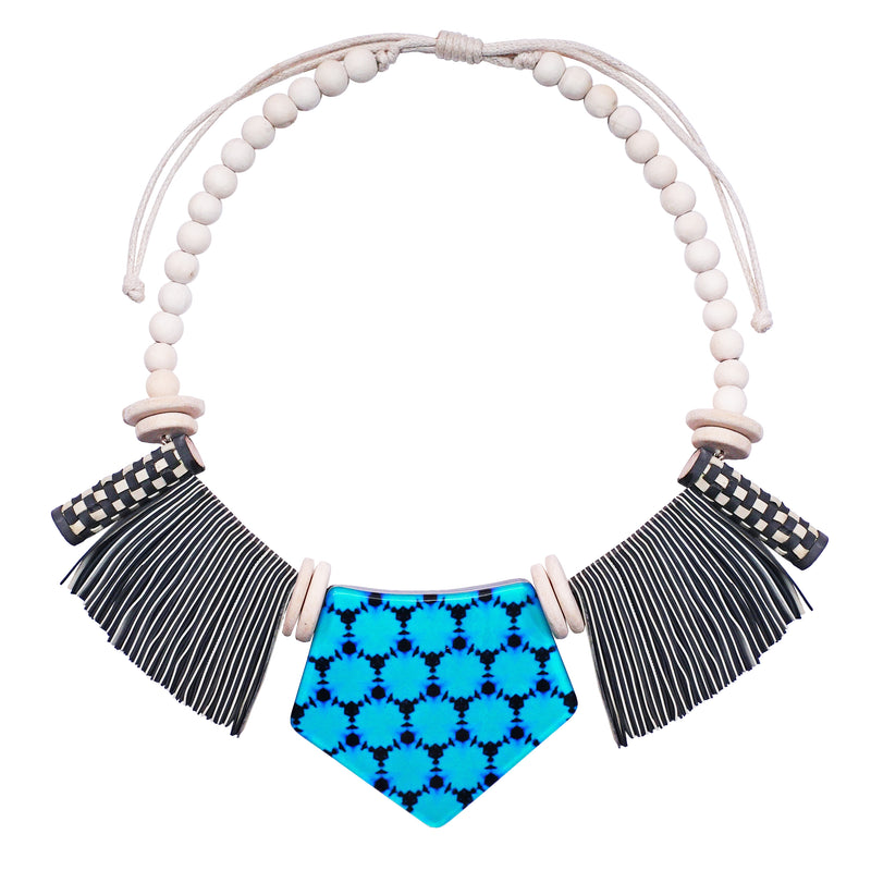 Multicolored Pattern Necklace w/ Fringes