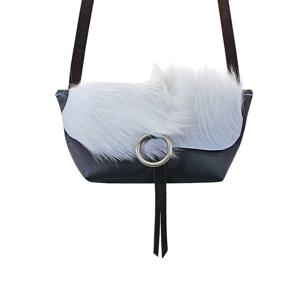 White Fur and Black Leather Handbag