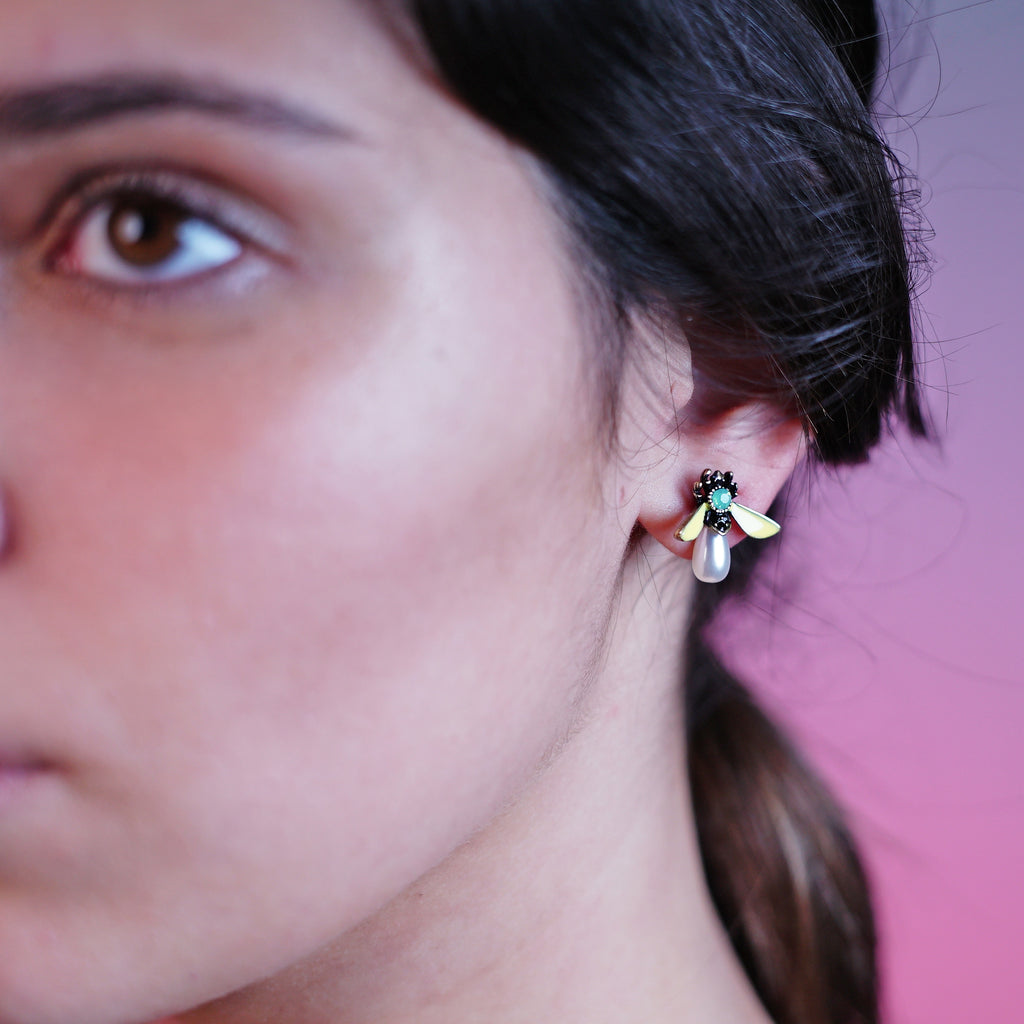Crystal Yellow Bug Earrings w/ Cultured Pearl