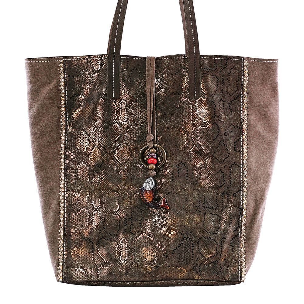 Brown Leather Bag with Gold Reflections